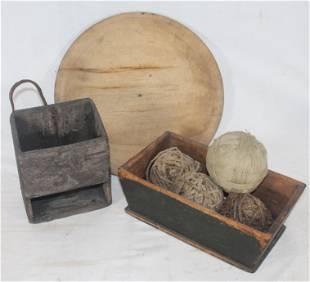 """Antique & make-do primitive treen lot incl 14 3/4"""" diam"""