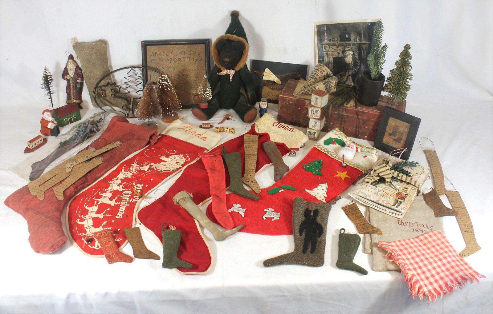 Contemporary primitive handmade lot of Christmas themed