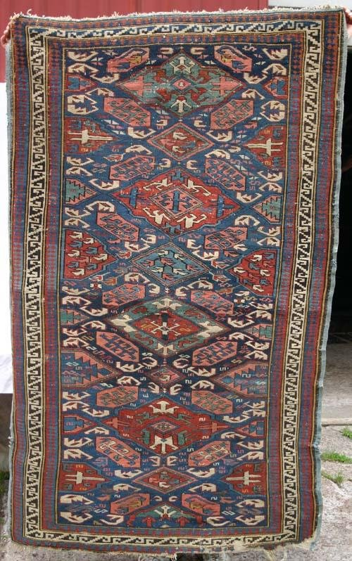 1: antique 3'7x5 Caucasian Kuba Oriental Rug