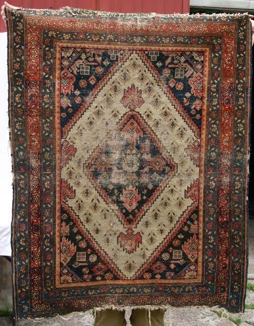 "6: 4'5""x3'3"" Antique Persian Hamadan Oriental Rug"