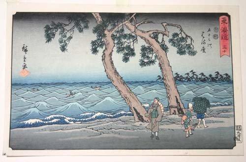 10: Japanese woodblock print of a seaside coastal scene