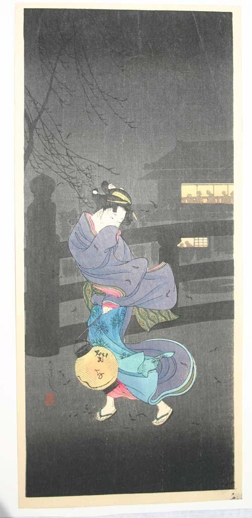 16: Japanese woodblock print by Shotei of woman carryin