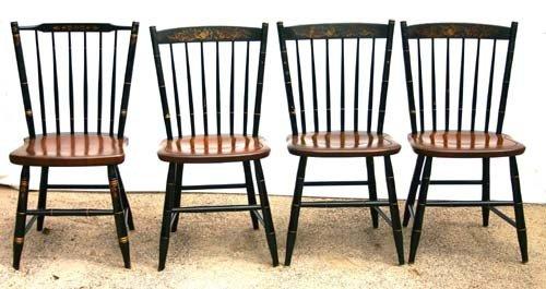 22: set of 4 sgnd Hitchcock orig stencil dec chairs (bl