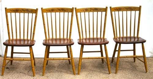 23: sgnd Hitchcock orig stencil dec set of 4 chairs (mu
