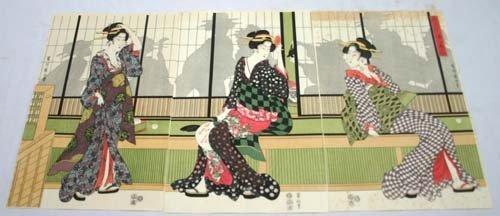 1: Japanese Woodblock print - triptych of 3 Geishas
