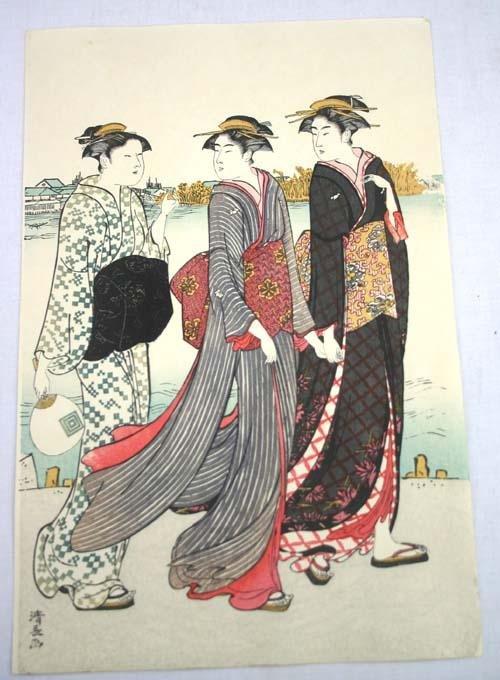 4: Japanese Woodblock print of 3 Geishas walking