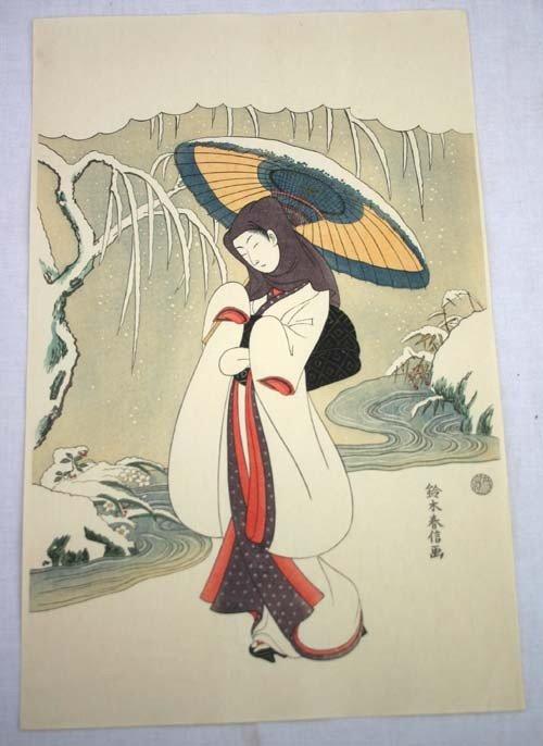 12: Japanese Woodblock print of a Geisha in winter scen
