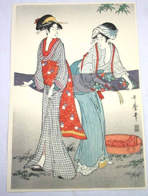 15: Japanese Woodblock print of 2 Geishas doing laundry