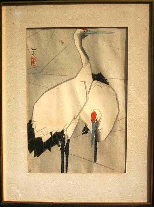 16: Japanese Woodblock print of Herons by Ide Gakusui