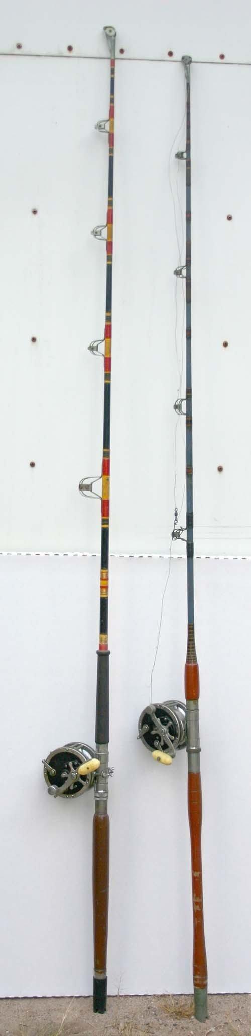 "19: 2 antique saltwater fishing poles w reels - 6'5"" &"