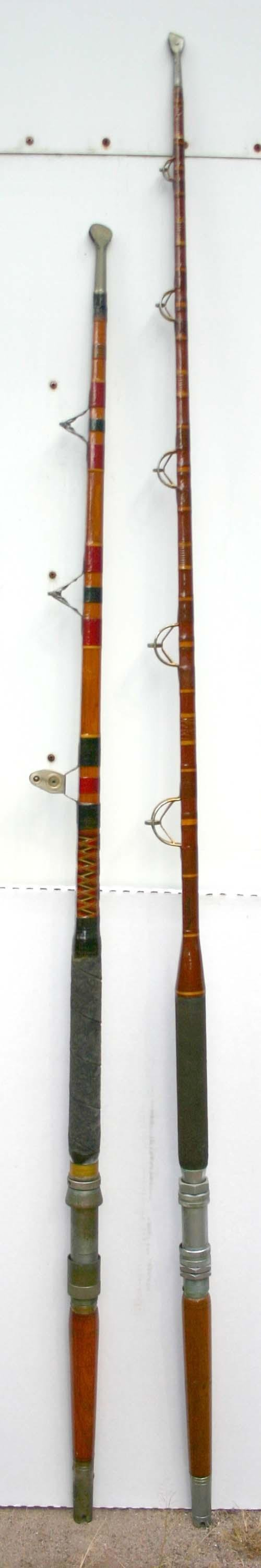 """22: lot of 2 antique salt water fishing rods - 6'10"""" ma"""
