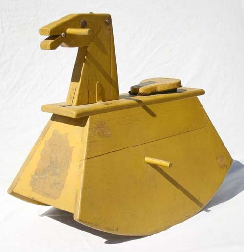 24: ca turn of the century wooden rocking horse in wond
