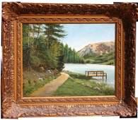 287: B.A. Van Beek 13x16 1/4 o/c late 19thC lake & moun