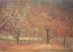 364 sgnd TH Rosseau dtd 1906 mixed media autumn landsc