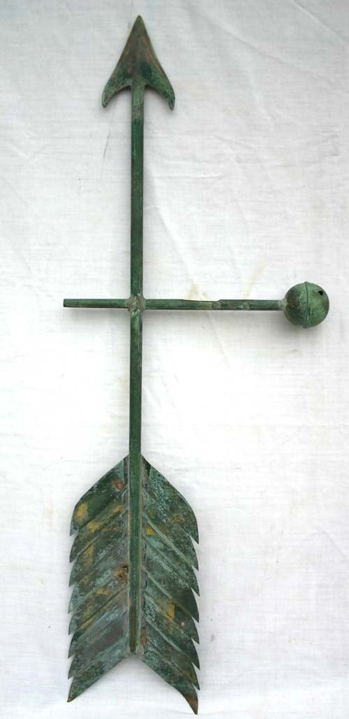 1: late 19thC copper arrow weathervane w ball finial in