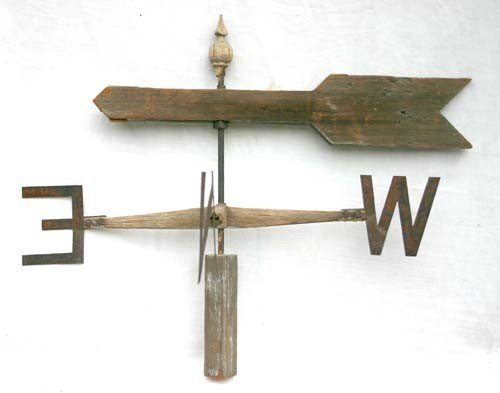 6: late 19thC very folky wooden carved weathervane on d