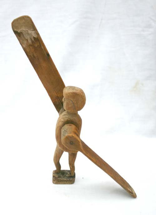 15: 19thC unusual small size wooden carved whirligig of