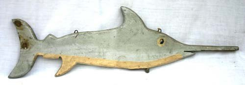19: mid 20thC wooden carved Cape Cod swordfish weatherv