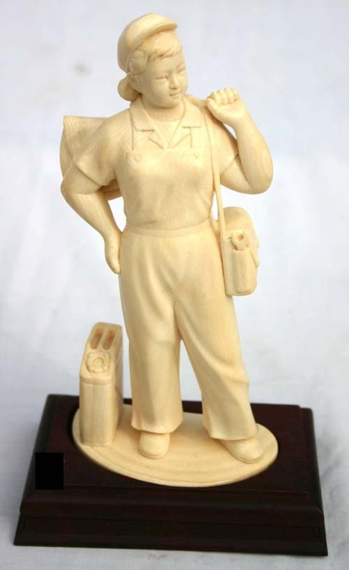 "158: fine 7"" tall Chinese carved ivory woman in overall"