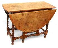 168 rare early ca 1740 curly maple MA gateleg table in