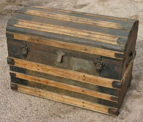 1: fine antique dome top trunk w complete interior feat