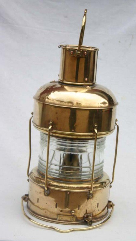 19: solid brass ship's anchor lantern with Fresnel glas