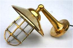 154: 2 solid brass ship's companionway lamps w mounting