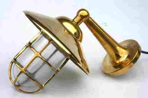 2 solid brass ship's companionway lamps w mounting