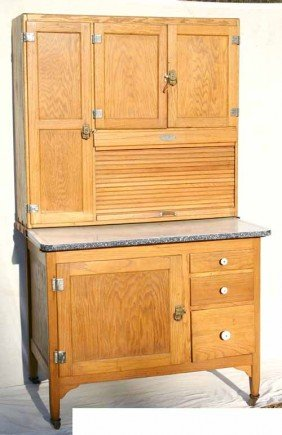 185 Antique Oak Hoosier Cabinet Lot 0185