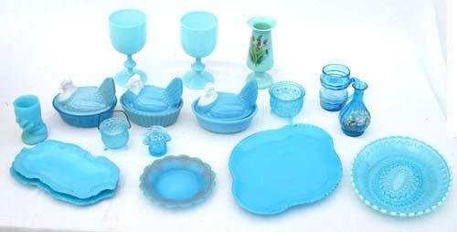 1: aprox 17 pcs of blue glass incl Bristol, enam dec &