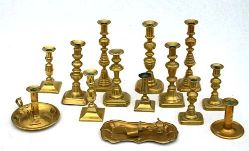 3: lot of 13 antique brass candlesticks incl 3 pairs -