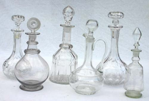 4: lot of 6 blown & cut glass decanters