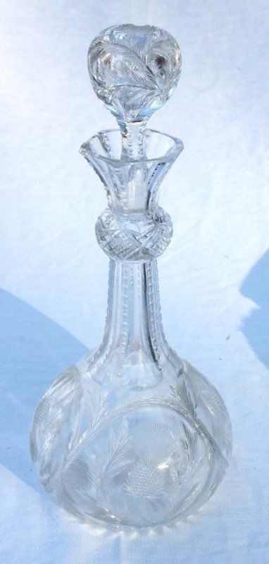 4A: American Brilliant cut glass thistle pattern decant