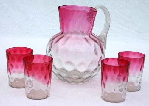 4B: Rubina Verde 5 pc Victorian art glass lemonade set