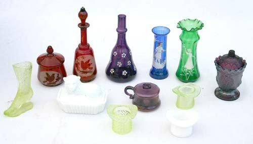 6: lot of antique glassware incl Mary Gregory, Bohemian