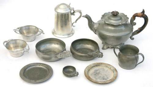 """7: lot of antique & semi-antique Pewter incl """"Dixon"""" te"""
