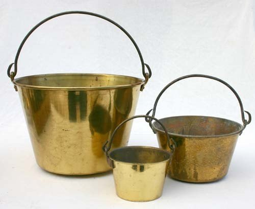 8: nest of 3 brass bucket - largest w patent date of 18