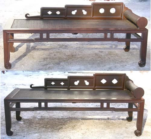10: pr of mid 19thC Chinese Ching Dynasty walnut carved