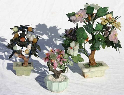 """12: lot of 3 Chinese jade trees - 13"""", 6 1/2"""" & 9"""" tall"""