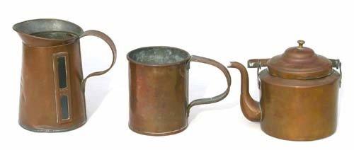 14: lot of 3 pcs of 19thC copper incl a Philadelphia ma