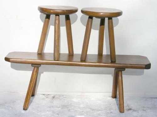 15: 4' long oak splay legged bench w 2 matching stools