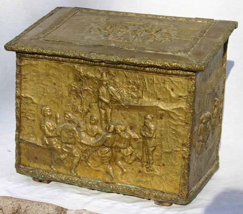 """16: antique brass figural embossed wood box - 20"""" tall"""