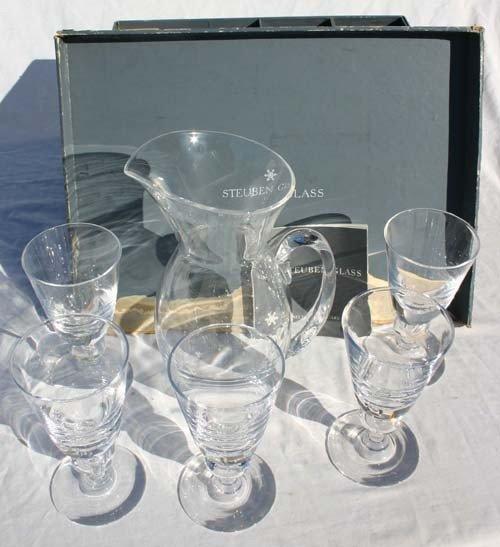1: original boxed Steuben Crystal pitcher w 5 goblets