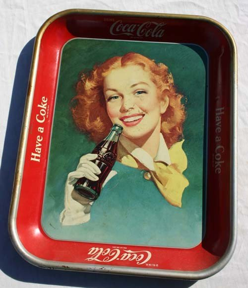 """3: Vintage """"Have A Coke"""" tin advertising tray - 10 1/2"""""""
