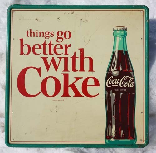 """4: """"Things Go Better With Coke"""" vintage tin advertising"""