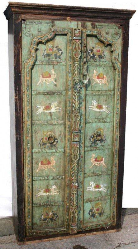 5: unusual antique 2 door cupboard w painted panels fea