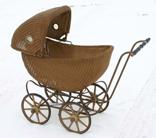 10: antique wicker doll's carriage - probably by Heywoo