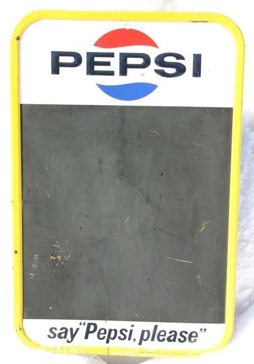 "17: ca 1965 tin Pepsi chalkboard advertising sign - 30"""