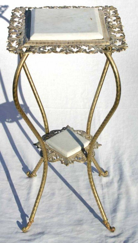 22: 2 antique brass 2 tier stands - 1 w marble - 1 w on