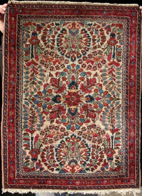 "1: 24 1/2"" x 33"" antique Persian Kashan Oriental mat"